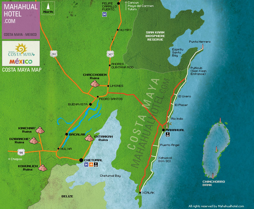 Map Costa Maya Excursions Mahahual